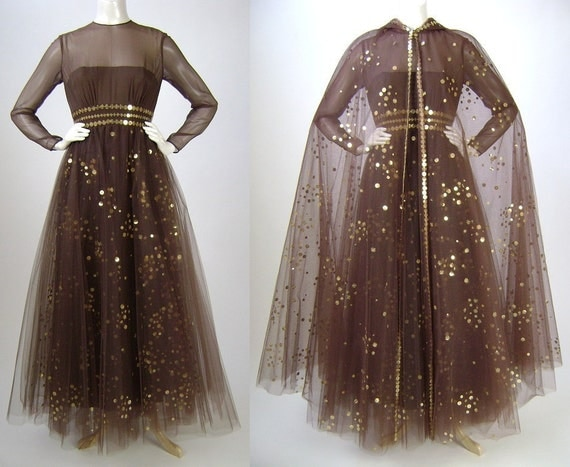 Reserved for Leann  Gown & Cape / Brown Tulle Gold Sequins / Long Sleeve Gown / 1980s /  Medium B36 W26