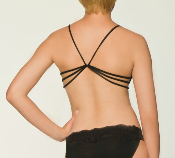 Black Sleepwear Lingerie- Strappy Sleep Bra