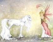 Children's Fantasy Fine Art Print - 8.5x11 - First Encounter - Fairy Tale, Unicorn, Princess