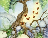 Fantasy Fine Art Print - The Butterfly Tree - whimsical, secret garden, nature, green, paradise