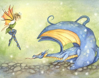 Dragon Art Original Watercolor Painting - Teasing The Dragon - Whimsical, blue, boy, children, wings, fairy tale, illustration, storybook