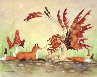 Fairy Art Fine Art Print - The Fox's Faery -  Fantasy whimsical animal rust orange illustration watercolor