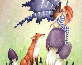 Fairy Art Watercolor Print - A Fox and A Fairy - fantasy. cute. animal. whimsical. woodland. purple.