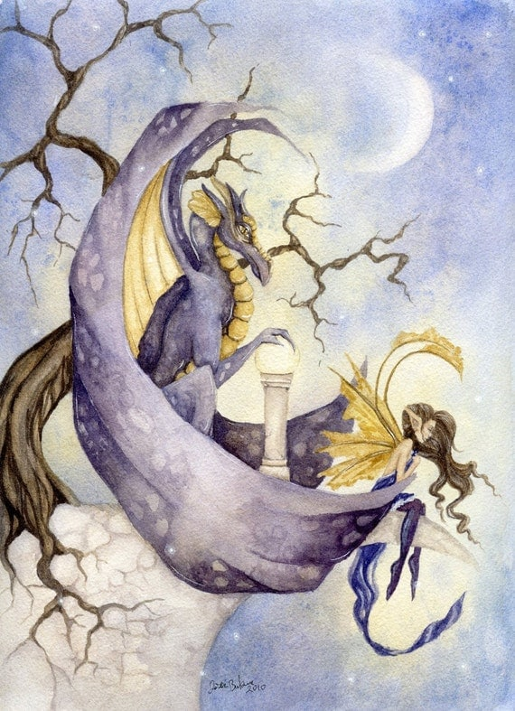 Fantasy Fine Art Print - 8.5x11 - The Orb - Enchanting, Dragon, Fairy
