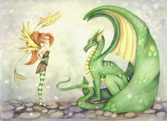 Fantasy Art Original Watercolor Painting - 9x12 - The Dragon Tamer - Fairy tale, whimsical, girl, green, mythological