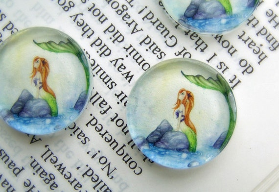 Whimsical Fantasy Art Glass Magnets, Mermaid Dreaming