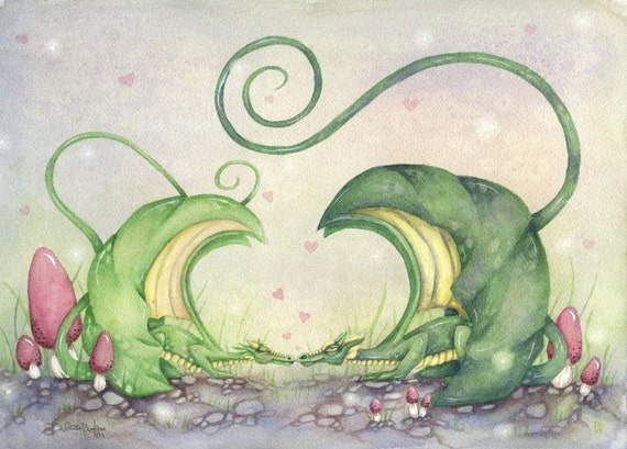 Fantasy Art Original Watercolor Painting - 9x12 - Dragon Love - whimsical, mythological, sweet, romance, wings, valentine's day