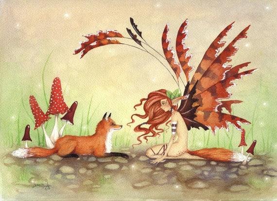Fairy Art Fine Art Print - The Fox's Faery -  Fantasy whimsical animal rust orange illustration watercolor