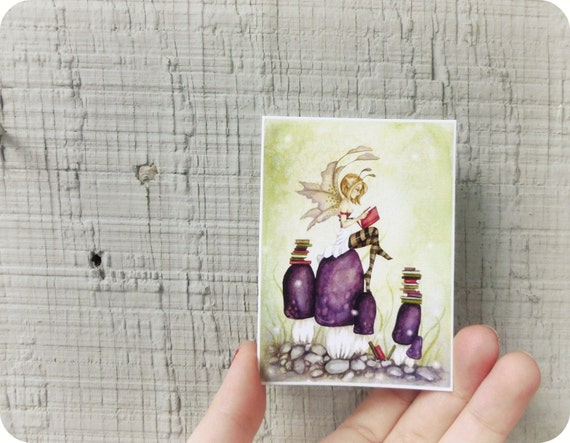 Fairy Art ACEO - The Knowledgeable Pixie - whimsical, reading, story book, purple, girl, fairy tale, for her