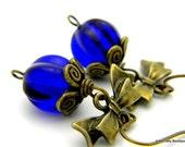 Cobalt Blue and Brass Earrings