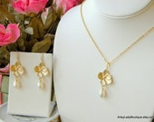Five Bridesmaids Earring and Necklace Sets - Golden Flower and Pearl