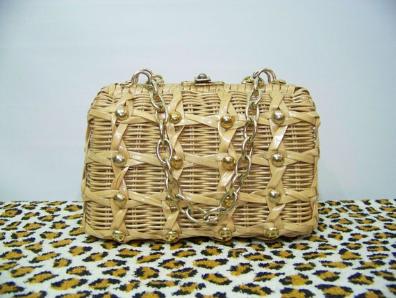 70s Wicker Handbag Box Purse Metal Chain Vintage Bag Tan Mod 1970s