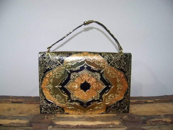 60s Handbag Envelope Purse Clutch Leather Gold Ornate Metallic Ethnic Vintage 1960s