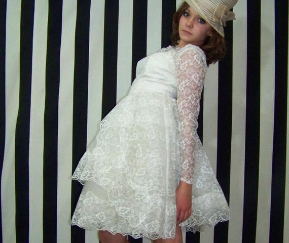 60s Wedding Dress Short Ivory Tulle Sequins Lace Small S Medium M Vintage Long Sleeve