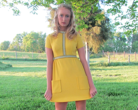 RESERVED Please Do Not Buy 60s Dress Mod Mini Bright Yellow Scooter Small S Vintage 1960s gogo