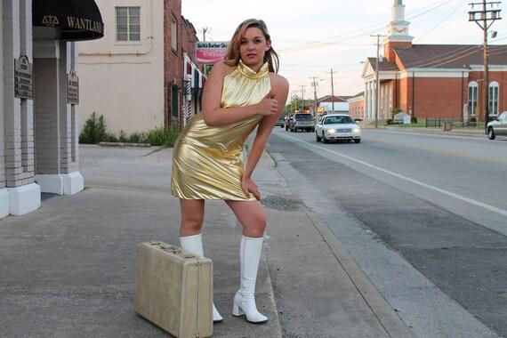 60s Mini Dress Space Age MOD Go Go Gold Metallic Sleeveless Medium M 1960s Bond Girl 007