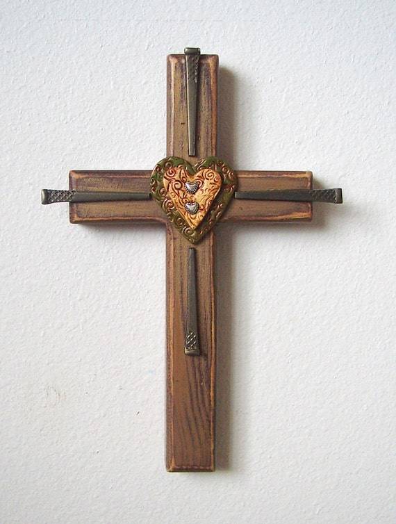 Rustic Southwest Metallic Cross with Handmade Clay Hearts and Antique Style Nails