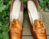 Vintage Mr. Herbert Couture 60s Mod Copper Patent Leather Shoes Size 10 N