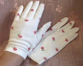 Vintage 50s Pink and White Floral Embroidered Short White Gloves, Hansen 7