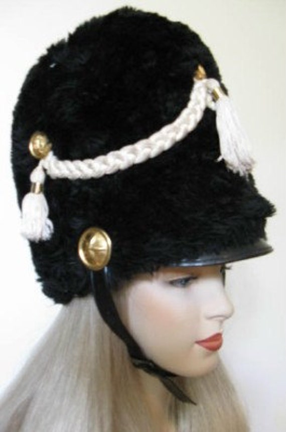 Vintage 60s Tall Furry Black Marching Band Hat With Tassles