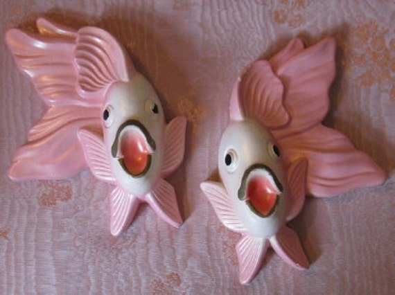 Vintage Miller Studio Pink Chalkware Bathroom Fish 1970 Set of 2