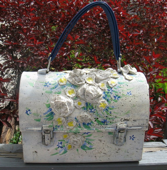 Vintage 70s Lunchpail Decopauge Purse with Raised Flowers, Signed Carol, Quilted Paisley Lining