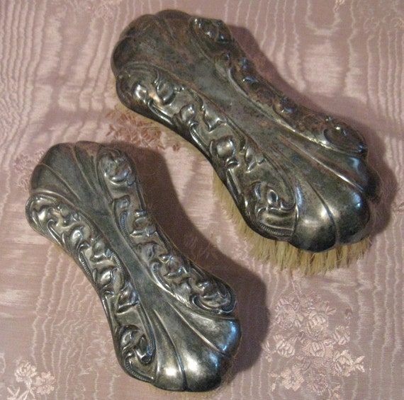 Vintage Art Nouveau Silver Plated Repousse Clothing Brushes, Set of 2