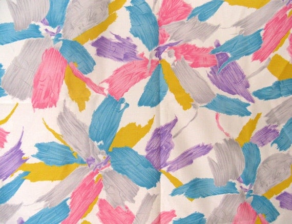 """Vintage 80s Abstract Floral Silky Fabric, Pink Turquoise & Purple on White, 46"""" x 2 YDS"""