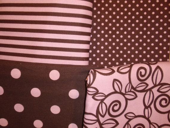 Pink and Brown Premier Prints 100% cotton fabric 4 total yards