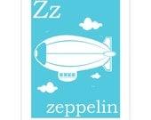 Children's Wall Art / Nursery Decor Z is for Zeppelin 8x10 inch print