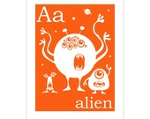 Children's Wall Art / Nursery Decor A is for Alien 8x10 inch alphabet print by Finny and Zook