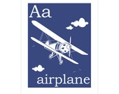 Children's Wall Art / Nursery Decor A is for Airplane 8x10 inch print by Finny and Zook