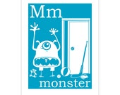 Children's Wall Art / Nursery Decor M is for Monster 8x10 inch poster print by Finny and Zook