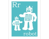 Children's Wall Art / Nursery Decor R is for Robot 8x10 inch poster print by Finny and Zook