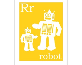 R is for Robot 8x10 inch print by Finny and Zook
