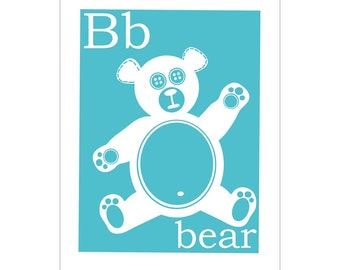 Children's Wall Art / Nursery Decor B is for Bear 8x10 inch print by Finny and Zook