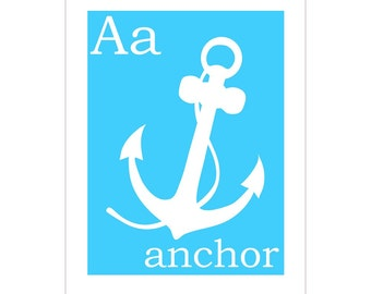 A is for Anchor 8x10 inch print by Finny and Zook