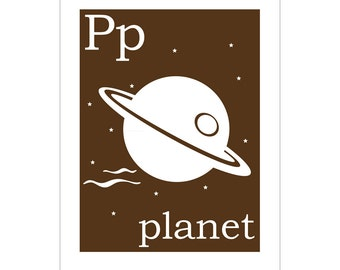 Children's Wall Art / Nursery Decor P is for planet  print by Finny and Zook