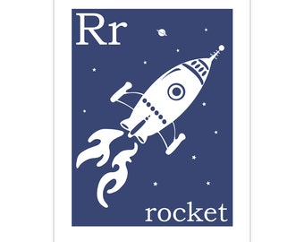 Children's Wall Art / Nursery Decor R is for Rocket 8x10 inch print by Finny and Zook