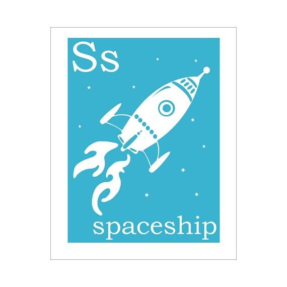 Children's Wall Art / Nursery Decor S is for Spaceship giclee print
