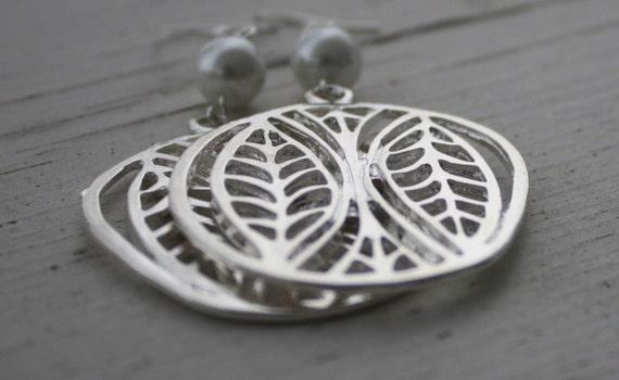 Silver Leaf and Pearl Earrings