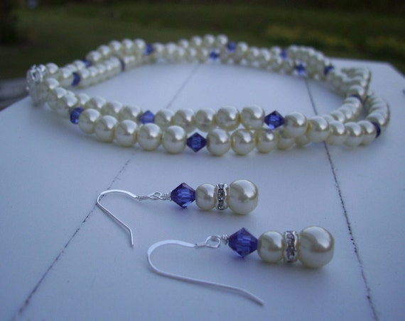 Bridesmaid Swarovski Crystal and Pearl Neckace and Earring Set