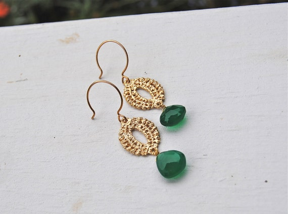 Emerald Ovals Chalcedony Earrings