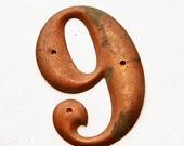 Upcycled Vintage Number Magnet, No.6 or 9, Six or Nine