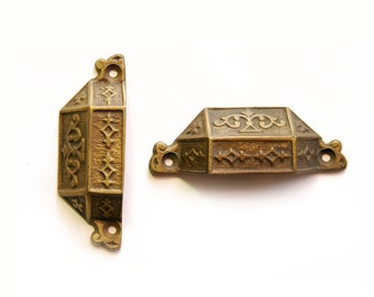 FREE SHIPPING Vintage Ornate Bronze Bin Pull ET51 (Reproduction)
