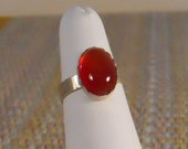 Carnelian Ring Sterling Silver Red Cabochon Solitaire Gemstone Oval - 5.75  (SSR-110)