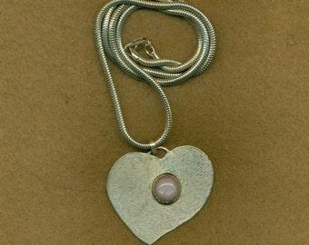 Heart Pendant Sterling Silver Pink Feldspar Cabochon Snake Chain Gemstone  (HTP-102)