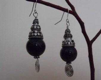 Amethyst Earrings Sterling Silver Purple Bali Silver Cones Bead Dangle Birthstone Statement (E-122)