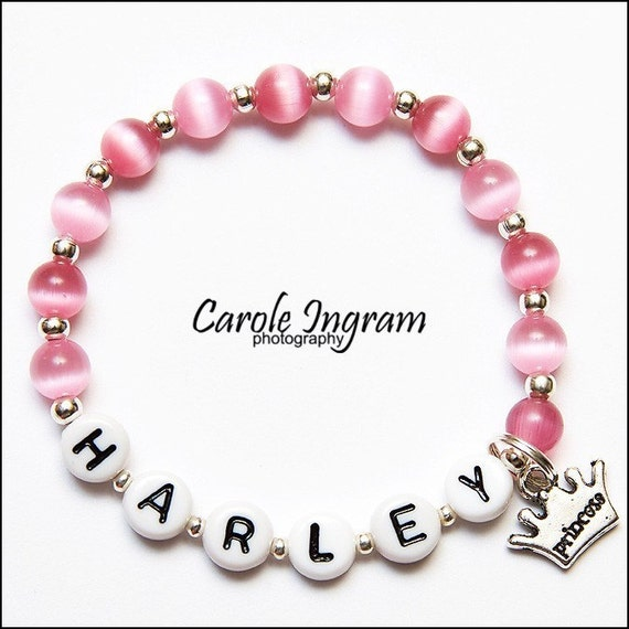Personalized Princess Charm Cats Eye Beads Girls Childs Bracelet