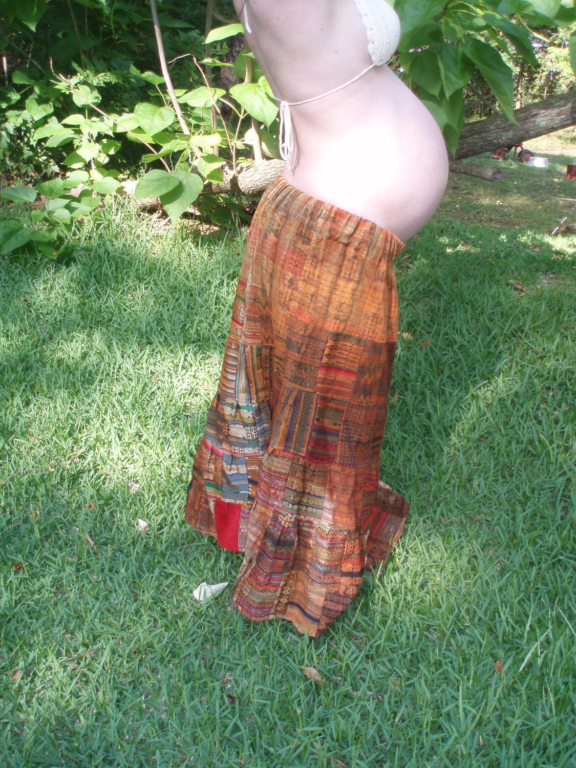 Vintage Indian Patchwork Print Skirt Hippie Maternity Clothing